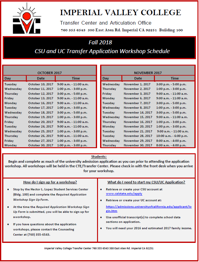 Fall 2018 CSU and UC Transfer Application Workshops