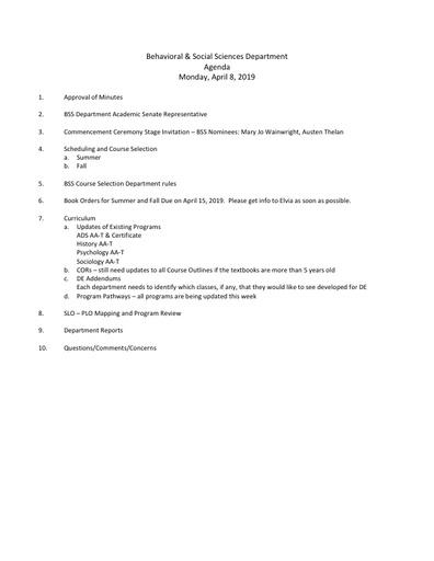 Agenda BSS Dept Mtg 4 8 2019
