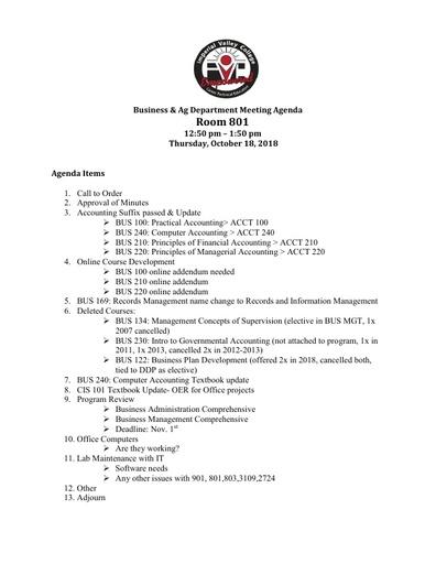 Business Agenda 10-18-18