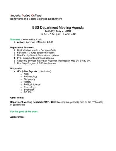Agenda BSS Dept Mtg 5 07 2018
