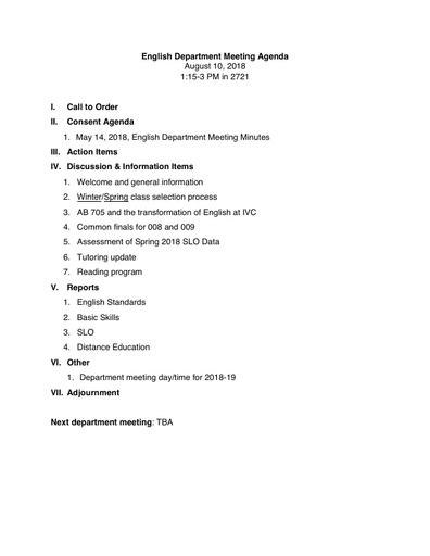 Agenda English Department 2018 08 10