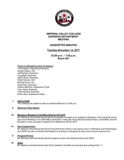 Business Dept. Meeting 11-14-17