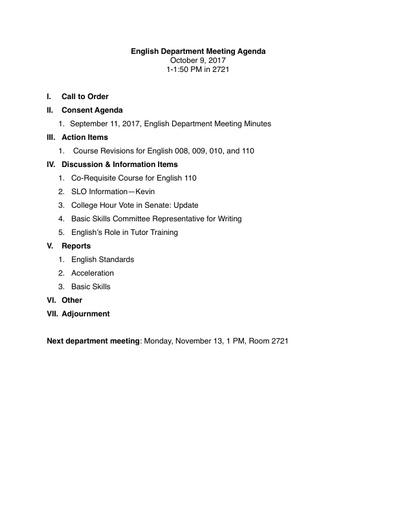 Agenda English Department 2017 10 09