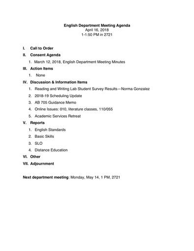 Agenda English Department 2018 04 16