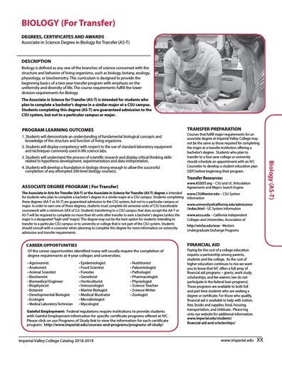 Biology for Transfer AS-T 2018-2019