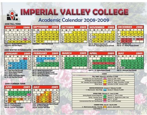 2008-09 IVC Academic Calendar