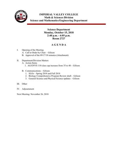 2018-10-15 SME Science Agenda