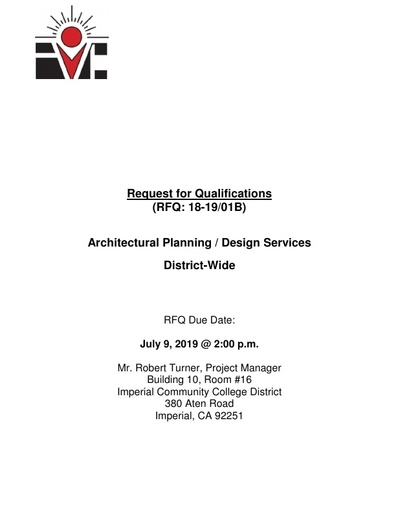 RFQ No. 18-19 01-B Architectural Engineering District Wide Due July 9