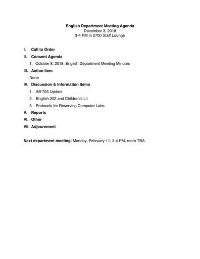 Agenda English Department 2018 12 03