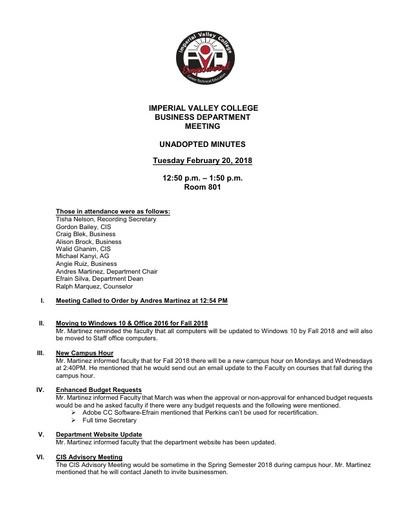 Business Department Meeting 2-20-18