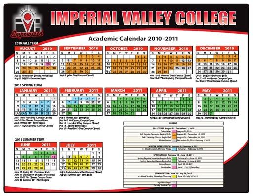 2010-11 IVC Academic Calendar