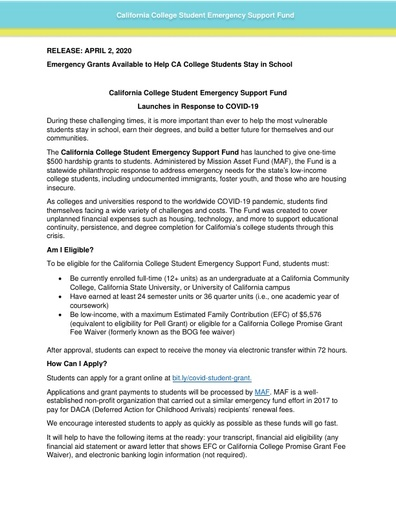 Emergency Grants to Stay in School Announcement