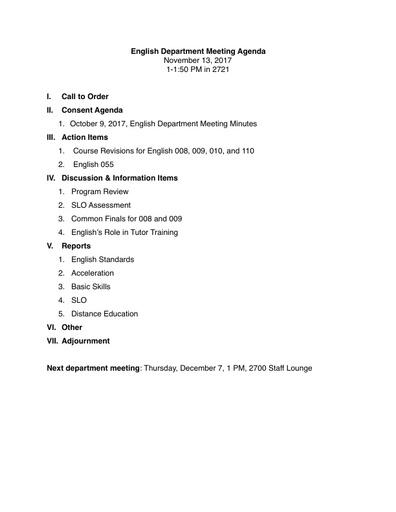 Agenda English Department 2017 11 13