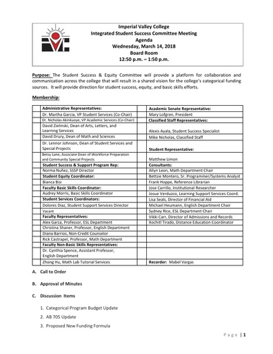 Agenda Integrated Student Success Committee 2018-03-14