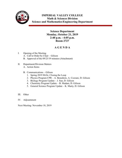 2019-10-21 SME Science Agenda
