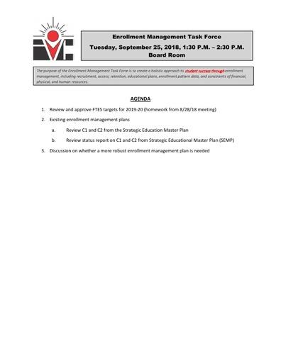 Agenda Enrollment Management Task Force 2018 09 25