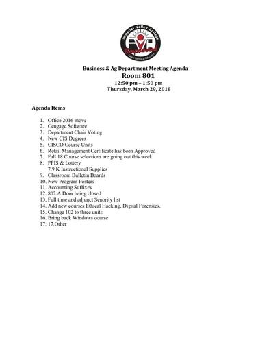 Agenda Business Department 3-29-2018