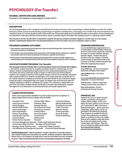 Psychology for Transfer AA-T 2014-2015