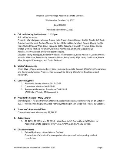 Minutes Academic Senate 2017-10-18 Adopted 2017-11-01