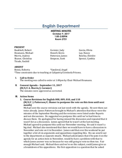 Minutes English Department 2017 10 09