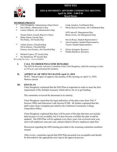 EEO & Diversity Advisory Committee Minutes 04/16/18
