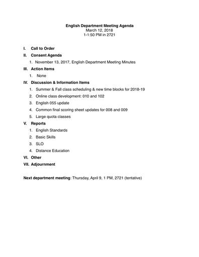 Agenda English Department 2018 03 12