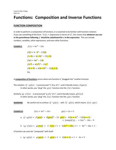 IVC factsheet functions comp inverse