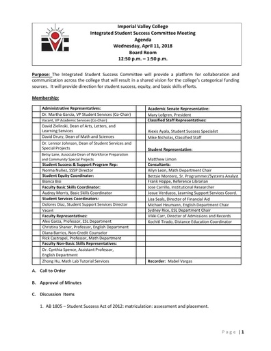 Agenda Integrated Student Success Committee 2018-04-11