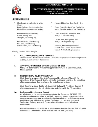 Approved Minutes Professional Development Committee 10 22 18
