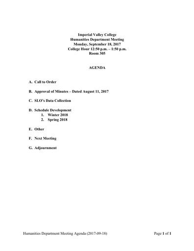 Agenda Humanities Department Meeting 2017 09 18