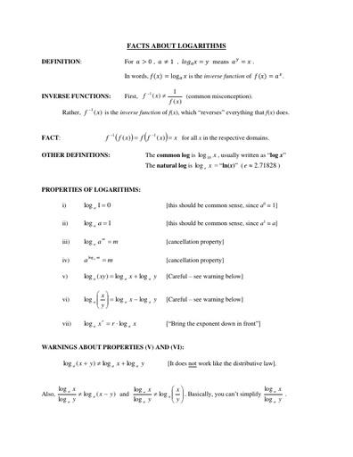 IVC factsheet logarithms