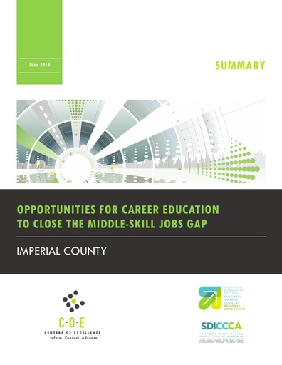 Imperial County Opportunities for Career Ed to Close the Middle Skill Jobs Gap Summary