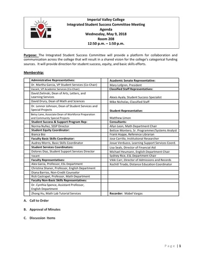 Agenda-Integrated Student Success Committee_2018-05-09