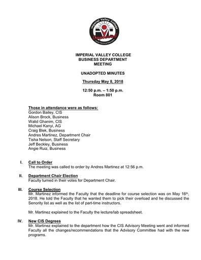 Business Dept Meeting 5-8-2018