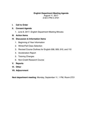 Agenda English Department 2017 08 11