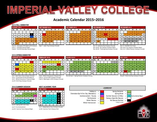 2015-16 IVC Academic Calendar