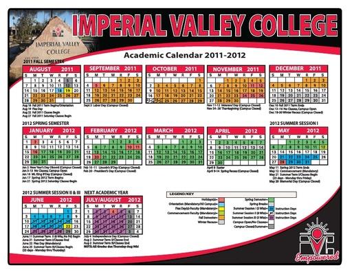 2011-12 IVC Academic Calendar