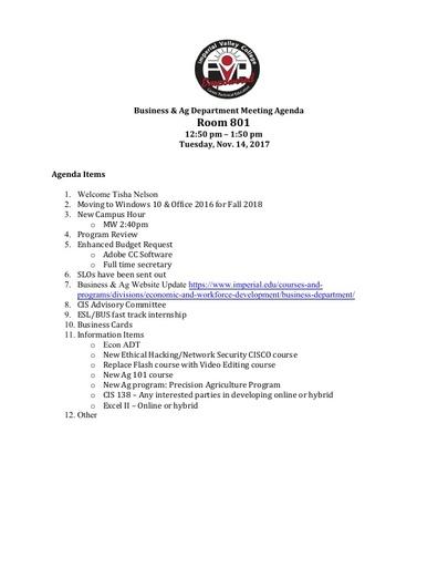 Agenda Business Department  11-14-2017