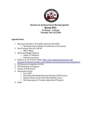 Agenda Business Department 2-20-2018