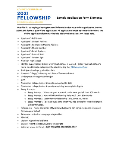 21-22 Imperial County Fellowship Scholarship Application Elements