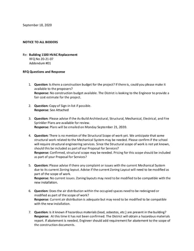 RFQ No. 20-21-07 HVAC Addendum #01-RFI Responses