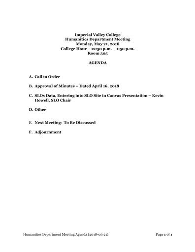 Agenda Humanities Department Meeting 2018 05 21