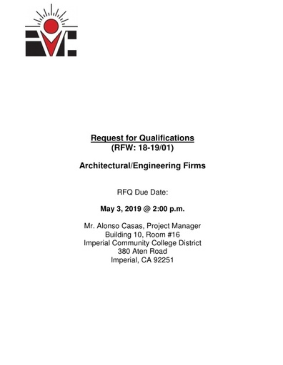 RFQ No. 18-19 01 Architectural Engineering District-Wide Due May 3