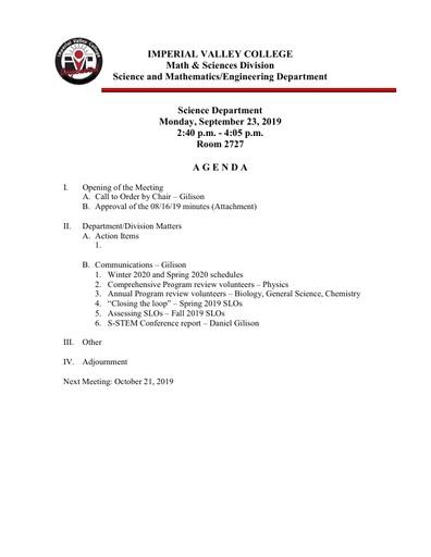 2019-09-23 SME Science Agenda