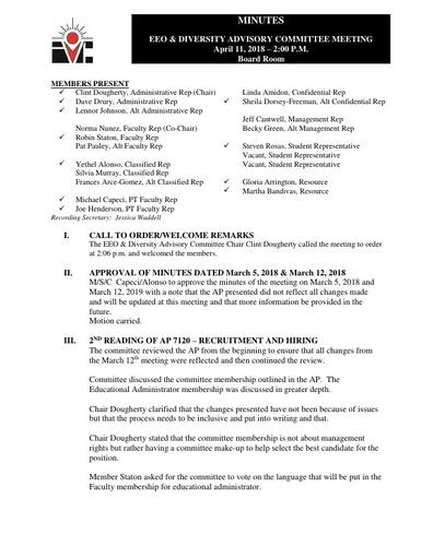EEO & Diversity Advisory Committee Minutes 04/11/18