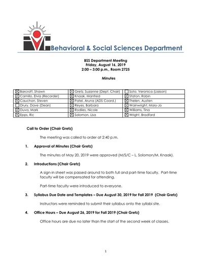 2019 08 16 Approved Minutes BSS Dept Mtg