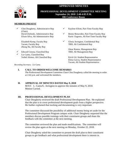 Approved Minutes Professional Development Committee 09 25 18
