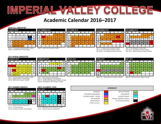 2016-17 IVC Academic Calendar