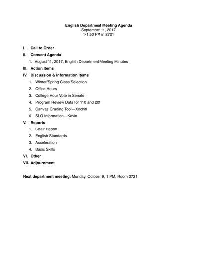 Agenda English Department 2017 09 11