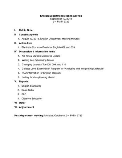 Agenda English Department 2018 09 10